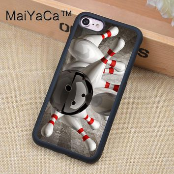 Bowling Ball Crashing Pins Mobile Phone Cases For iphone 6 6s Back Shell Bags Cover Rubber