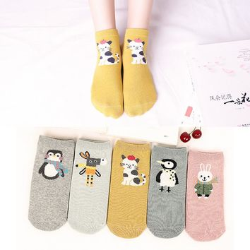 Women Girl Cute  Cartoon Cotton  Socks of Animal Rabbit Penguin Pattern Japan Warm Funny Novelty Kawaii Christmas dress sokken