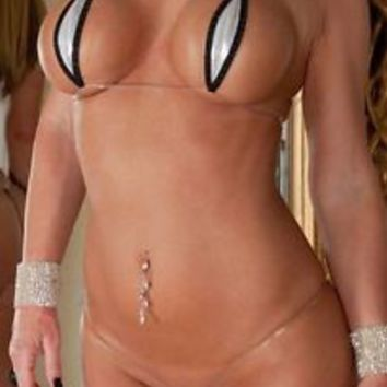 Sparkly Silver Black Sexy Teardrop Bikini 2pc Micro G String Extreme Clear Strap