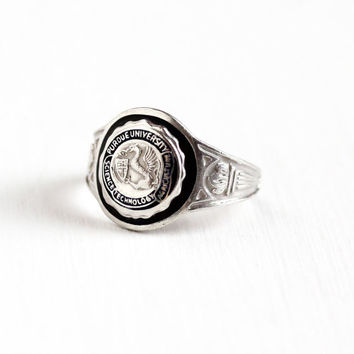 Vintage Sterling Silver Purdue University Class Ring - Art Deco Size 5 Black Enamel Science Tech Agriculture College Dragon Griffin Jewelry