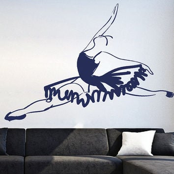 How to draw Wall Decal Vinyl Sticker Art Decor Design ballet pointe dance music scene beautifully salon image ballerina theater (i64)