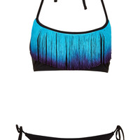 Black Dip Dye Fringe Bikini - New In This Week - New In - Topshop USA