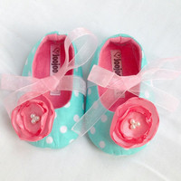 Turquoise and Pink Mary Jane Soft Baby Girl Booties/shoes/slipper in sizes 0-18 months
