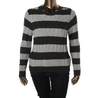 Jeanne Pierre Womens Striped Cable Knit Pullover Sweater