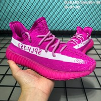 DCCK2 A107 Adidas Yeezy 350 V2 Knit Breathable Running Shoes Pink