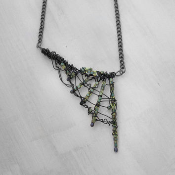 Web Necklace Spiderweb Necklace Halloween Necklace Costume Necklace Gothic Necklace Post Apocalyptic Futuristic Necklace Cyberpunk Hazpunk