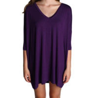 Dark Purple Piko Tunic V-Neck Half Sleeve Dress