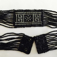 Collectible Vintage 1920's Black Seed Glass Beads Art Deco Choker Necklace, Antique Art Deco Choker Necklace, Flapper Jewelry