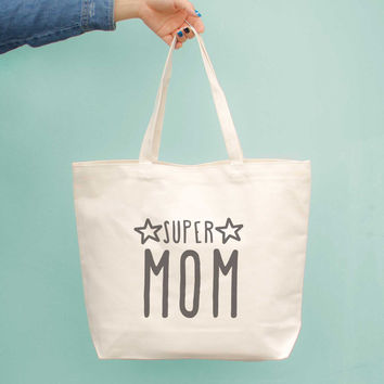 Super Mom Canvas Bag Grocery Bag Diaper bag Mothers Day Baby Shower Gifts