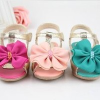 2016 NEW Kids Baby Toddler Girls Summer Princess Flowers Soft Flat Sandals Shoes