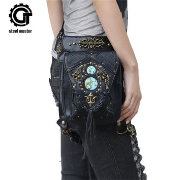 Steampunk Waist Bags Vintage Women Black Leather