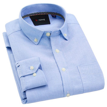 Men Oxford Casual Shirt High Quality 100% Cotton Long Sleeve Collar Button-up Business Long Sleeve Men Shirts