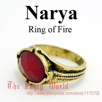 The Lord of Rings Narya Gandalf Ring of Fire LOTR jewelry elf Three Rings Great Rings Hobbit fashion men jewelry