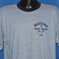 80s Whiteface The Olympic Mountain Blue Ringer t-shirt Large