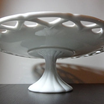 "Vintage Large Milk Glass Scalloped Lace Edge Pedestal Cake Stand - 14 1/4"" Diameter - Wedding Cake Stand"