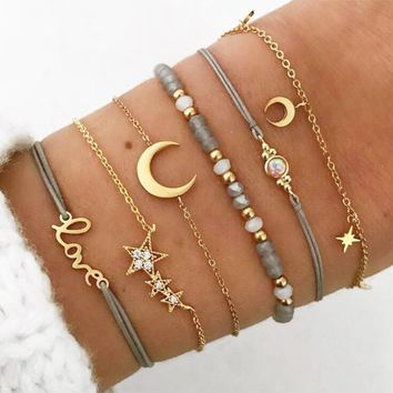 New Temperament Star Moon Personality Pendant Bracelet Hand String Gray Beads Bracelet 6 Pieces Set