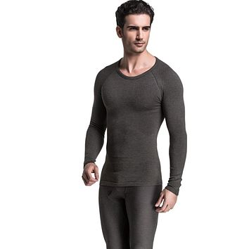 Winter Men's HEATMX Long Sleeve Undershirt Compression Shirt Thermal Bodysuit Seamless Underwear Warm Shirt Weight Loss Shaper
