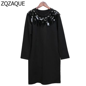 Cheap Sale Women's Long Style Hoodies 100% Manual Beading Loose Tops O-neck Long-sleeved Ladys Trendy Sequined Sweatshirts SY866