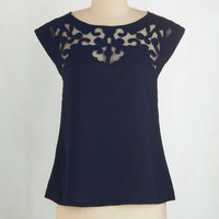 ModCloth Mid-length Short Sleeves Pottery Date Top in Navy