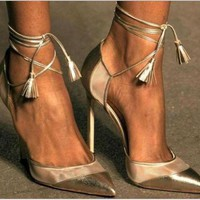 Sexy fashion pointy high-heels bandage golden sandals shoes