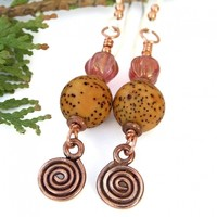 Buri Seed and Copper Spirals Boho Earrings, Pink Czech Glass Handmade Jewelry for Women