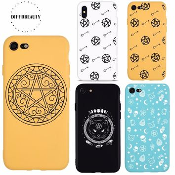 Supernatural Pentacle Pentagram Amulet Luxury Candy Color TPU Soft Phone Case Back Cover For iPhone 6 6s 7 8 Plus iPhone 5s SE X
