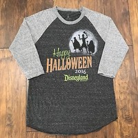 Disney 2016 Disneyland Halloween Hitchhiking Ghost 3/4 Sleeve Shirt Womens Large