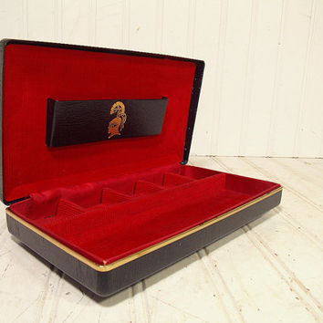 Vintage Black Leatherette Jewelry Box Gold Knight Tooling & Metal Trim - Retro Dresser Valet and Travel Organizer with Red Corduroy Interior