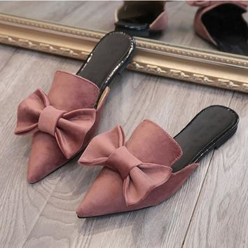 simple mules summer flower shoes women flat sandals pointed slipper casual woman slide