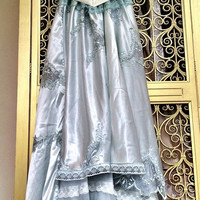 ice blue & white chiffon satin appliqued princess prom dress by mermaid miss k