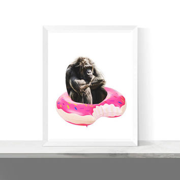 Summer Printables, Printable Animal, Donut Float Art, Nursery Decor, Funny Animal Art, Downloadable Prints, Gorilla, Pool Party