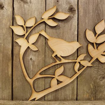 Bird on a Branch- laser cut wood sign