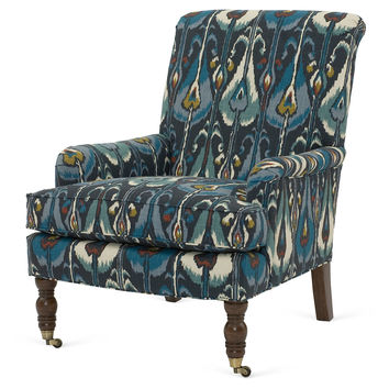 Abigail Ikat Accent Chair, Navy, Accent & Occasional Chairs