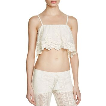 Band of Gypsies Womens Lace Embroidered Crop Top