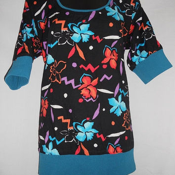 Vintage 80s Pullover Geometric Hibiscus Bright Neon Funky All Over Print Shirt Hawaiian Kawaii