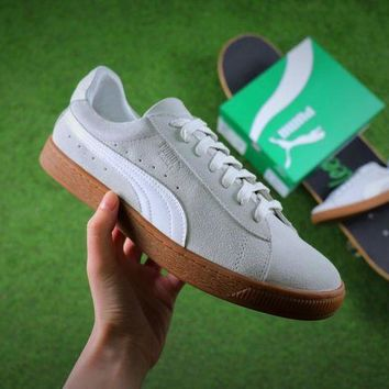 CREYNW6 Sale Puma Suede Classic Basket White Suede Shoes Sneaker 365054-09