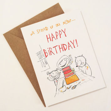 happy birthday card - Sister's with pet dog baking cake - family birthday - cake card