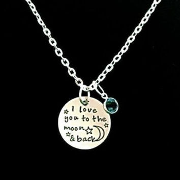 Birthstone I Love You To The Moon And Back Wife Mother Gift Necklace