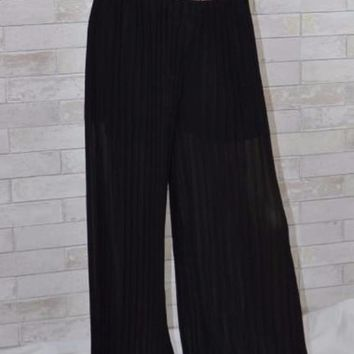 Dressy Pleated Sheer Palazzo Pants-Black