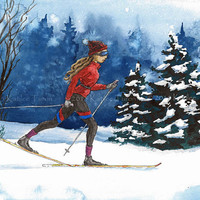 Skiing Watercolor Art Painting, Print, Skiing