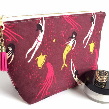 Large Cosmetic Bag, Mermaid Makeup Bag, Large Zipper Pouch, Mermaid Cosmetic Bag, Burgundy Makeup Bag