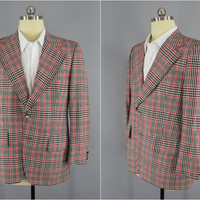 Vintage 1970s Blazer / 70s Jacket / 1960s Sport Coat / Preppy Red Plaid Golf Blazer / Larry Kane Raffles Wear / Size 44