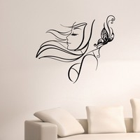 Wall Decal Vinyl Sticker Beauty Girl Hair Salon Spa Decor Sb486
