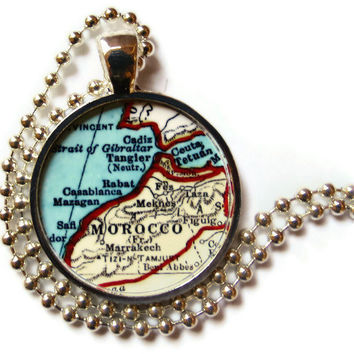 Morocco, Africa map necklace pendant