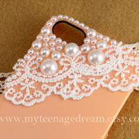 iphone 5 case, peach iphone 5 case, Romantic white lace and pearl trim Hard Case for iphone 5 case