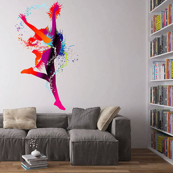 kcik122 Full Color Wall decal gymnast dancer dancing spray paint room Bedroom
