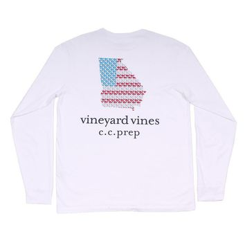 Custom Georgia State Whale Long Sleeve Tee Shirt in White by Vineyard Vines