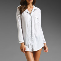 Only Hearts Organic Cotton Piped Night Shirt in White/Black from REVOLVEclothing.com