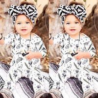 Unisex Infant kids long sleeve Baby Girls Boys Feather Romper Jumpsuit Outfits One-pieces