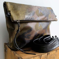 Green Camouflage Leather Messenger bag - Green leather tote with black leather strap - Camo leather clutch - everyday bag